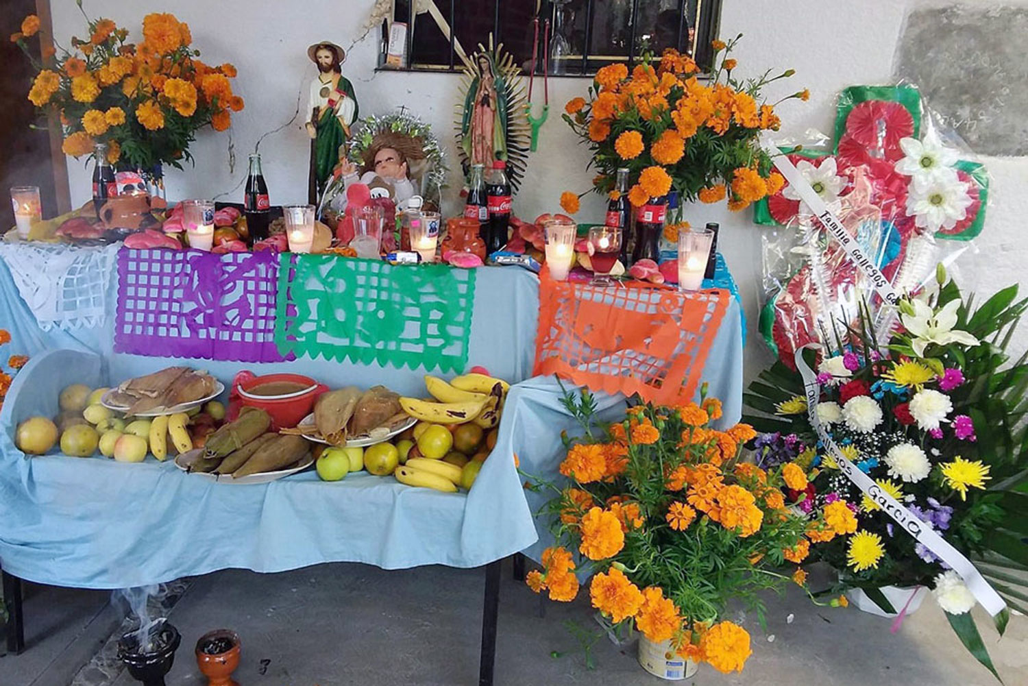 During Day of the Dead, people will put the food and drinks that their loved ones used to eat and drink out in memory of them.