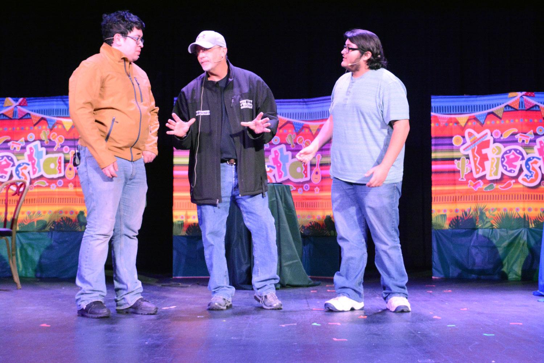 Fernando Nunez as Alex, Osvaldo Morales as Rudy and Joe Denoyer as Nicolás rehearse for their upcoming performance in Novio Boy.
