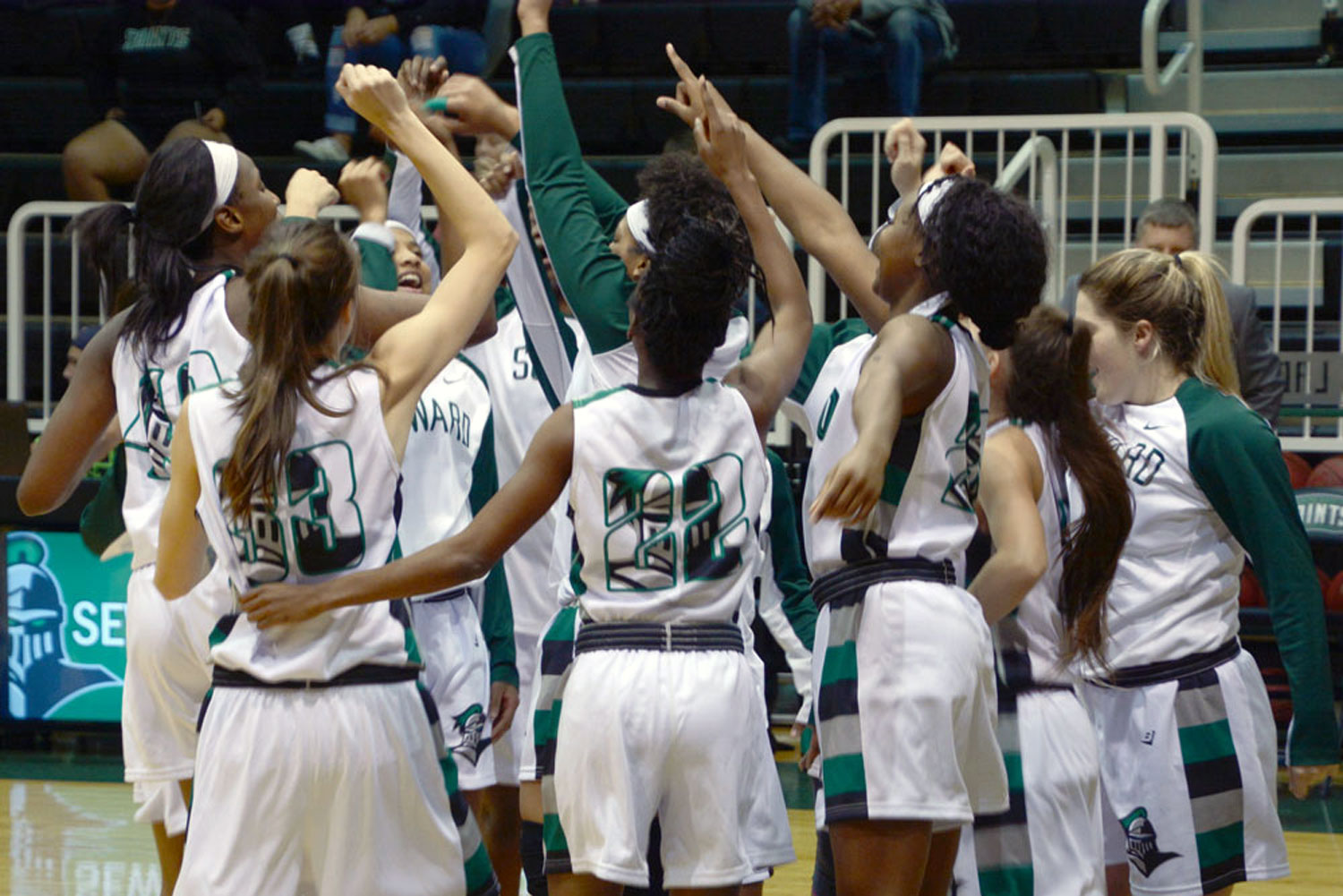 The Lady Saints defeated the No. 10 Western Nebraska Cougars on Nov. 2 at 6 p.m. in the Greenhouse. Seward finished with a win, 74-64 .
