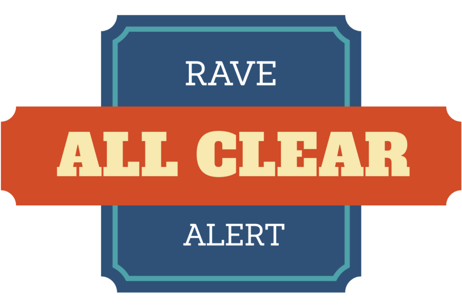 An all clear alert went out over the RAVE network to students. It was part of a practice drill.