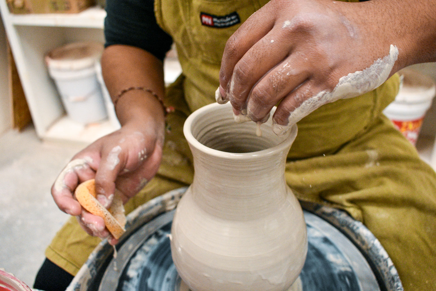 Throwing pottery is Carlos Hernandez' passion. He has been involved with the Seward County Community College class for the last six years. The class is open to students and the community. Many in the class are like Hernandez and repeatedly take it for the chance to create in the art lab.