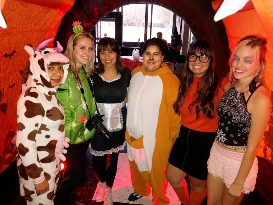 Halloween just isn't complete without Crusader staff hosting a booth at Trick-or-Treat Street in the SCCC student union. Rubi Gallegos, Amberley Taylor, Alondra Botello, Michelle Mattich, Annette Meza and Anastasia Smalldridge dressed up for the occasion.