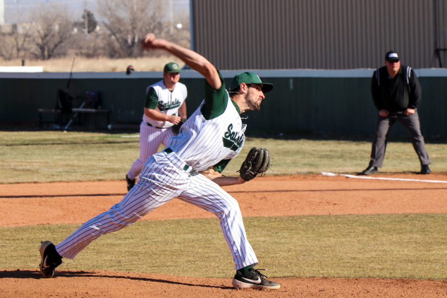 Ryan Giberson, pitcher from Waterloo, Ontario, only allowed one run in the second game against Redlands Community College. He struck out five in six innings of play.