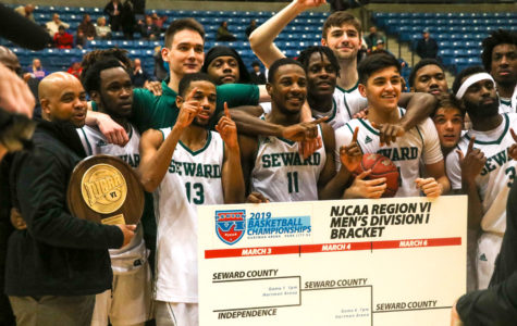 The Seward County Community College men's basketball team celebrates after winning the Region VI championship against Hutchinson. This was just the sixth time in program history for the men to win. They will automatically advance to the national tournament in Hutchinson on March 18-23.