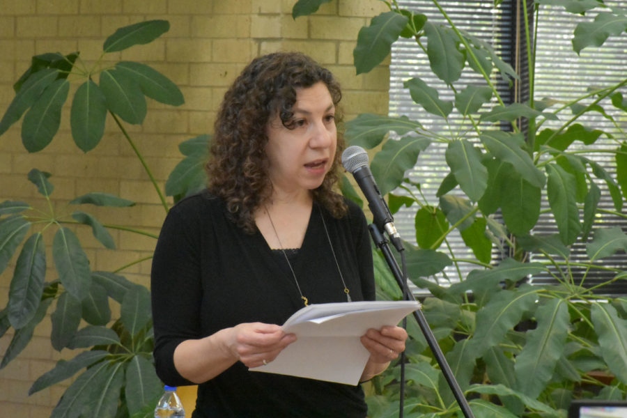 On April 12, Seward County Community College hosted its annual Poetry Coffeehouse in the student union. Rebecca Aronson was invited to read and judge the poems that were entered into the contest. During the day, a luncheon was held for Aronson to answer questions and read from her book,