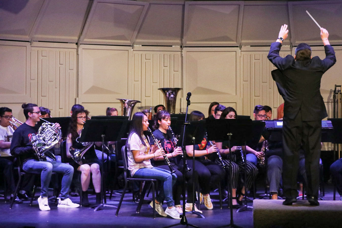 Darin Workman, SCCC band and instrument director directs SCCC students in the concert on April 26. The band performed several songs from the Marvel universe franchise.