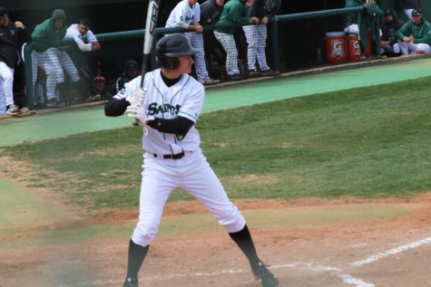 Cruz Shope stands up to the plate for the pitch. The sophomore outfielder is counted on to get runs across whether its from runs batted in or scoring himself. Shope hit five home runs during the regular season but crossed home plate himself, 46 times.(file photo)