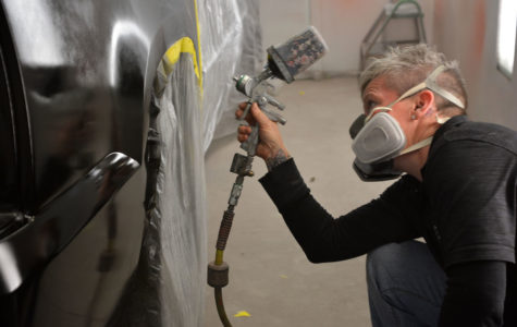 Auto body collision and repair instructor, Bree Downs, has earned skills through her painting and doing work on automobiles.