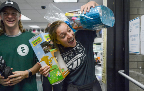 Nati da Rocha gets excited about winning the giant chocolate bunny. The Easter egg she found in the bookstore matched up to this prize. More than 300 eggs were hidden but not all offered prizes.