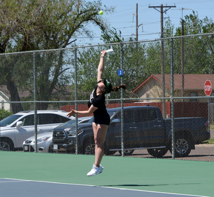 Freshman Sofia Belluco played in singles against Gwendolen Sior of Barton Community College. Belluco ended up winning singles by 6-2 and 6-1.