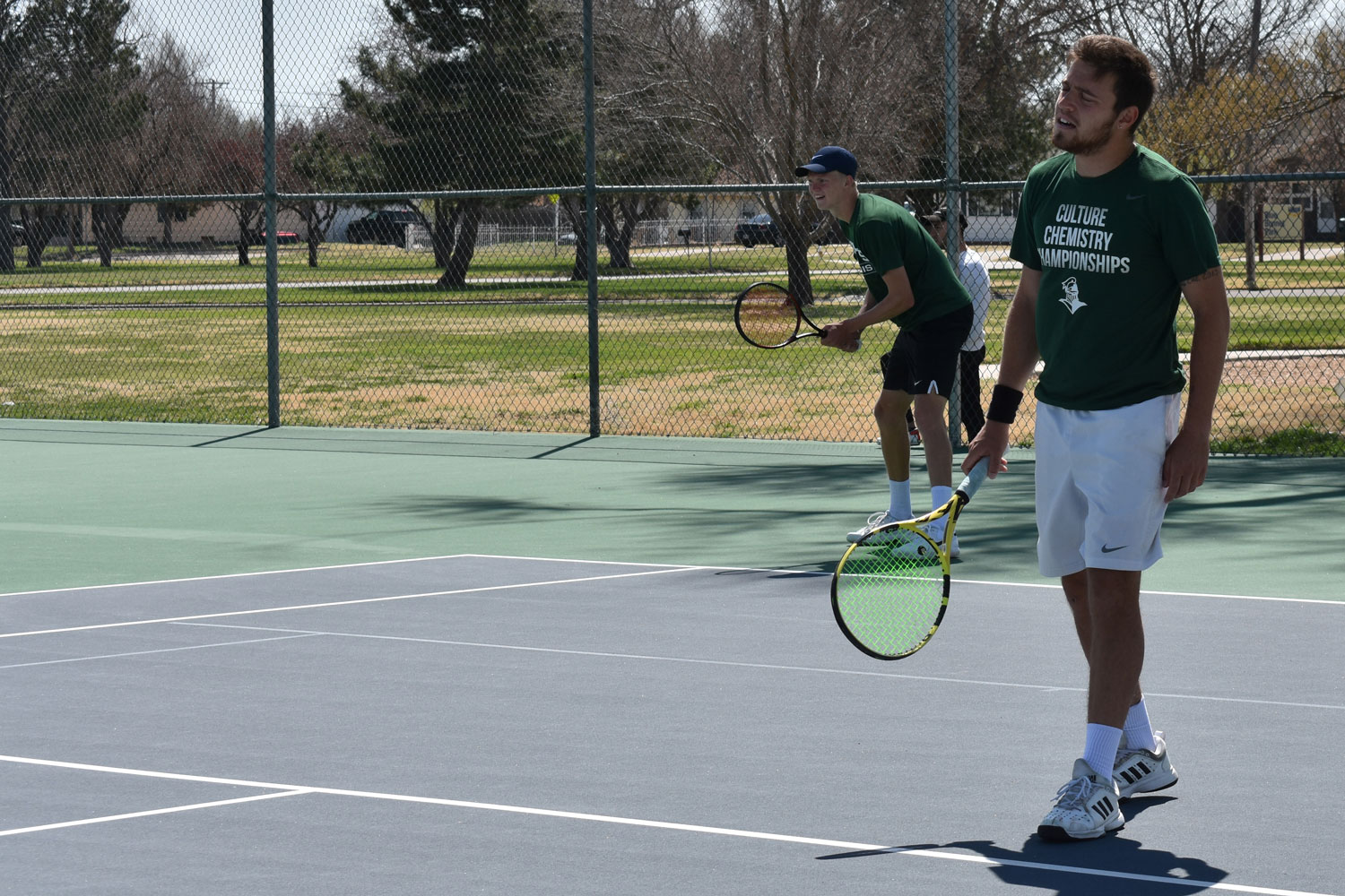 Nicolas Rousset, Plaisance, France sophomore, and Sander Jans, De Ronerberg, Netherlands, play in a doubles match against Cowley College on April 5. They are No. 1 in doubles for Seward.