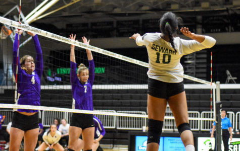 Freshman outside hitter Ariana Arciniega winds up for a spike. The freshman from Peru has 58 kills so far this season.