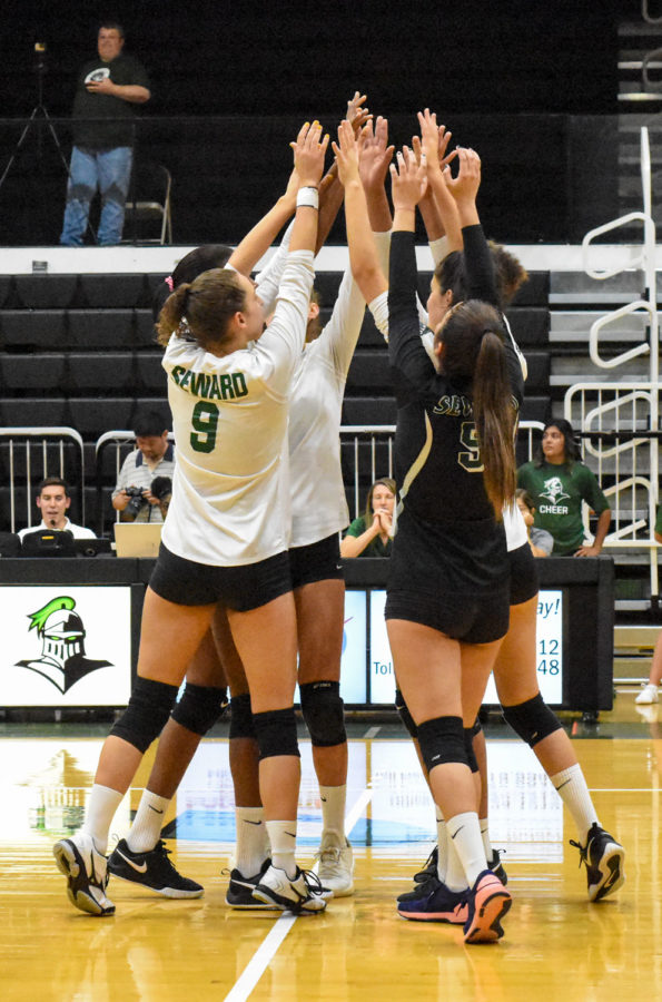 The nationally ranked Lady Saints celebrate victory number 14 this season. They remain undefeated in conference play.