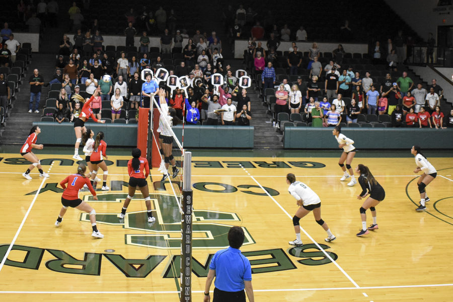 When the Lady Saints needed a boost to get things back on track with their game, fans came to the rescue. They yelled, screamed and waved signs to get high energy.