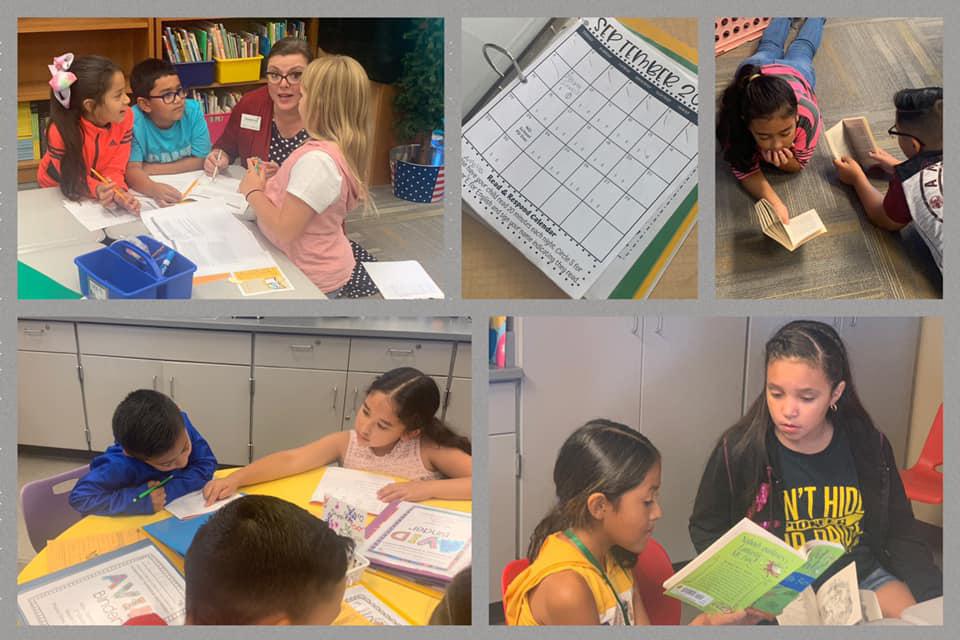 Los estudiantes pioneros leen a diario y se llevan a casa algunos libros para leerles a sus familias. Como parte del programa de dos idiomas de la escuela primaria Prairie View, los estudiantes pueden leer en inglés o español.