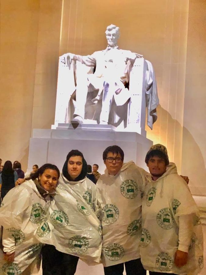 Half of the news staff toured around the National Mall on the first night of their visit.