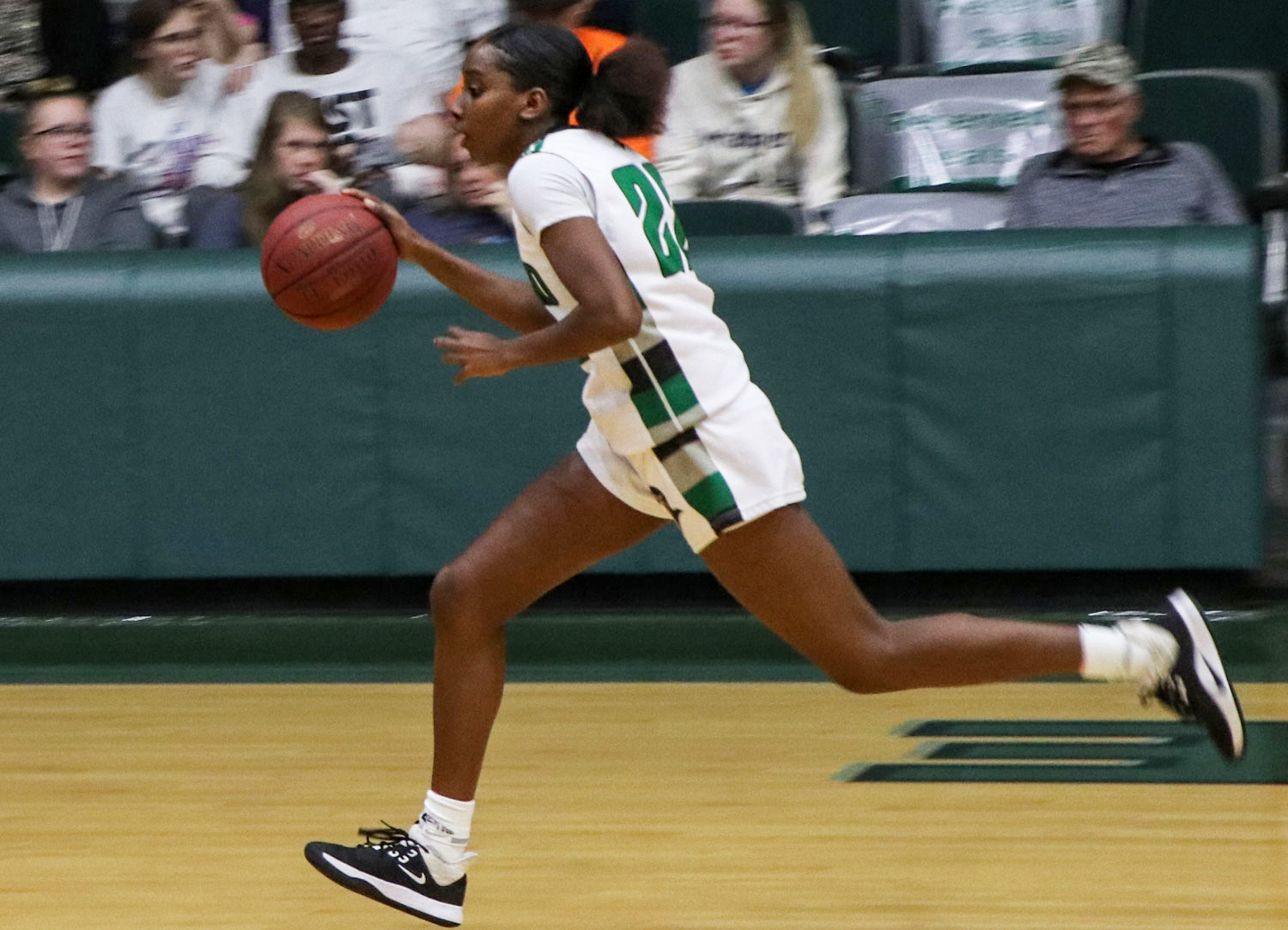 The Lady Saints came up short against South Plains College, Dec. 4. Leilani Augmon, freshman from California, had six points on the point. (file photo)