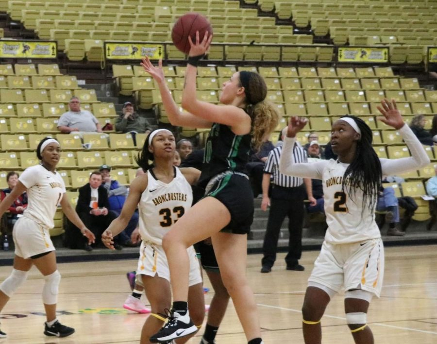 Tianna Jonhnson makes one of her 14 points for the night. She also had two assists, helping the team win the game against Garden City Community College.