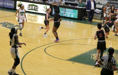 The SCCC Lady Saints played offense against Hutchinson on Feb. 22. The game ended with the score of 78-62. (file photo)