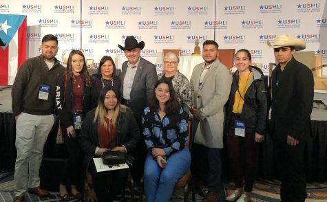HALO students attended the 38th USHLI conference from Feb. 20- Feb. 23.  HALO students left to right back row: Sammir Martinez, Alondra Sanchez, Frances Brown, Dr. Juan Andrade, Jr., President of United States Hispanic Leadership Institute, Patsy Fischer, Miguel Perez, Ana Herrera and Luis Jimenez. Left to right front row: Alizae Salinas and Maria Herrera.