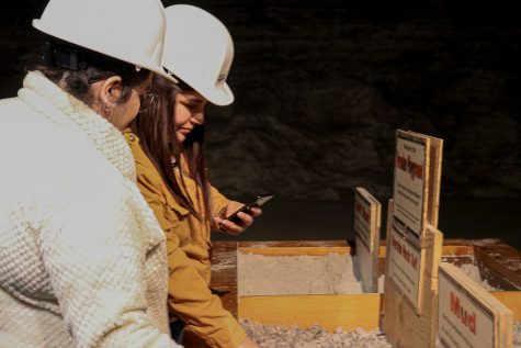 Erika Espinoza, TRiO advisor, got a first glimpse of the salt rocks in the Strataca by touching the Oversize Rock Salt display in the Permian Playground. Guests are able to touch the displays in the Permian Playground, such as the salt dust and oversize rock salt.