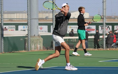 Raul Centeno practices his  forehand follow through. He won his single against Tyler Junior College, but lost his double playing with Sander Jans. (file photo)