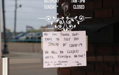 Local family owned coffee shop The Hustle posts a sign on their door announcing they are closed until further notice due to COVID-19. The shop employed a SCCC student Mario Loredo. They were forced to close due to lack of supplies and groceries.