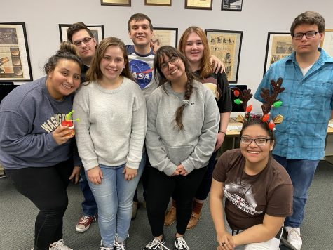 The Crusader staff Fall 2019: Monica Gonzalez, Rebecca Irby and Maggie Ibarra. (back row) Calen Moore, Preston Burrows, Cheyenne Miller and Josh Swanson.