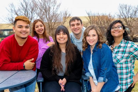 The Crusader News staff from the spring semester left to right: Elvis Polvon, Denise Perez, Annette Meza, Preston Burrows, Rebecca Irby and Maggie Ibarra.