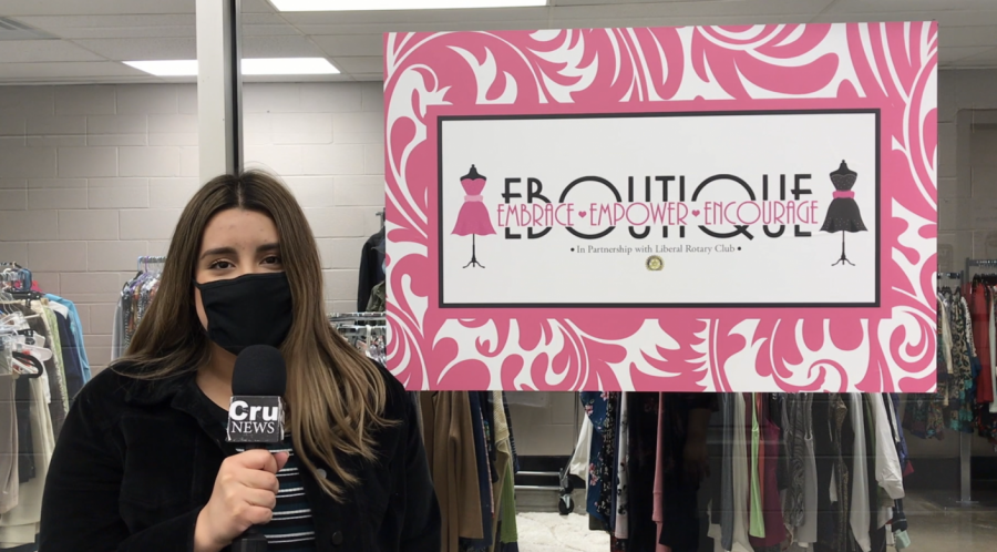 Maria Coronado, Liberal freshman, hosted a video on the grand re-opening of the EBoutique by the PBL club. It was Coronado's first time as the talent on camera.