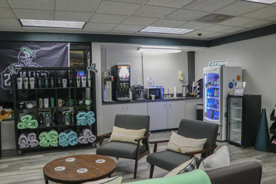 The bookstore also has a little nook where students can come and relax and enjoy their free hot drinks.
