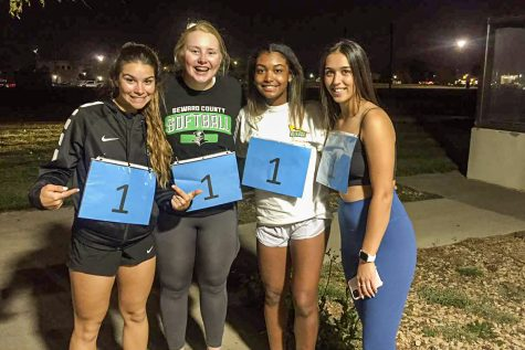 Winners of the SLC Amazing Race are Melissa Crisant, freshman softball player, Regan Watt ,freshman softball player, Macy Spearman, freshman softball major and Ashley Low, freshman softball player.