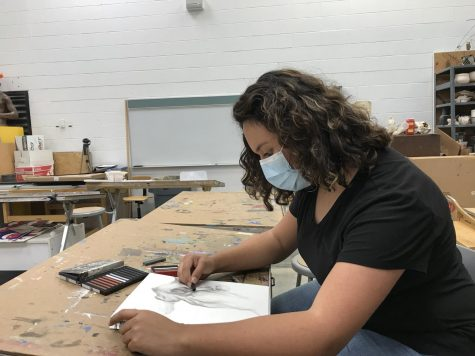 Alexia Pavia enjoys being able to sit down and work on her art whenever she has the chance to.
