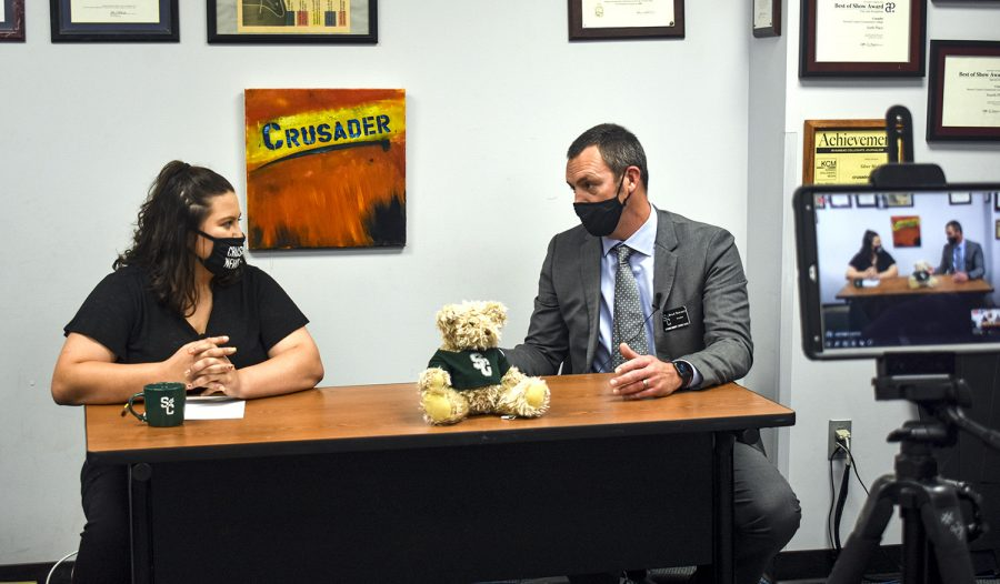 Brad Bennett is interviewed by Crusader News reporter, Mary Ramirez, live on Crusader's instagram and facebook on Oct. 22. It's Bennett's first week as the president of Seward County Community College and he is trying to get to know students on campus.