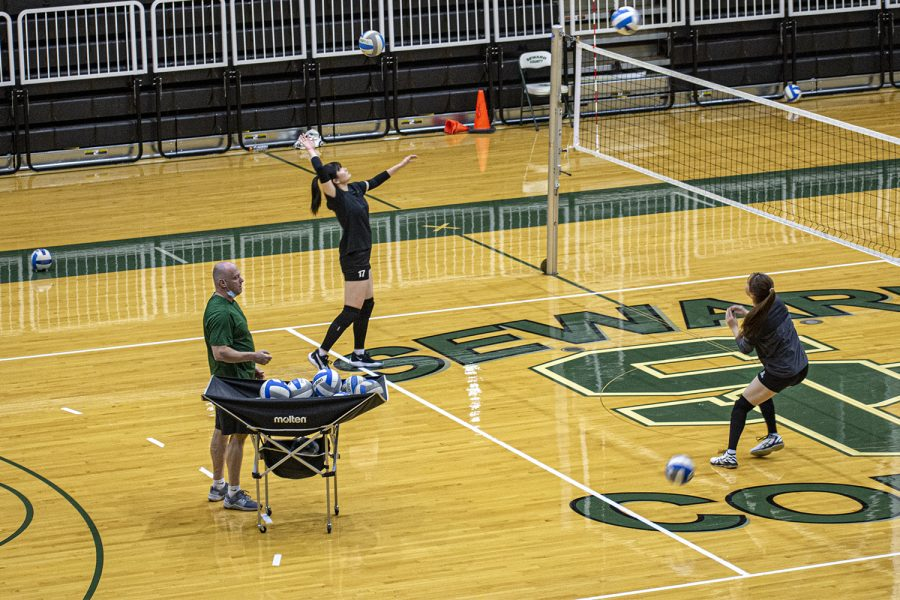 Geno Frugoli stays active at practice the first year SCCC coach said he likes being involved with the team. Frugoli is currently handling the reins of the nationally-ranked Lady Saints.