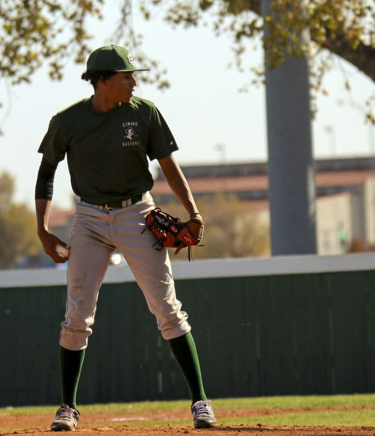 Mason Martinez, freshman from Amarillo, Texas, looks for the sign from catcher. SCCC had their first and only home fall scrimmage against against Dodge City Community College on April 5.