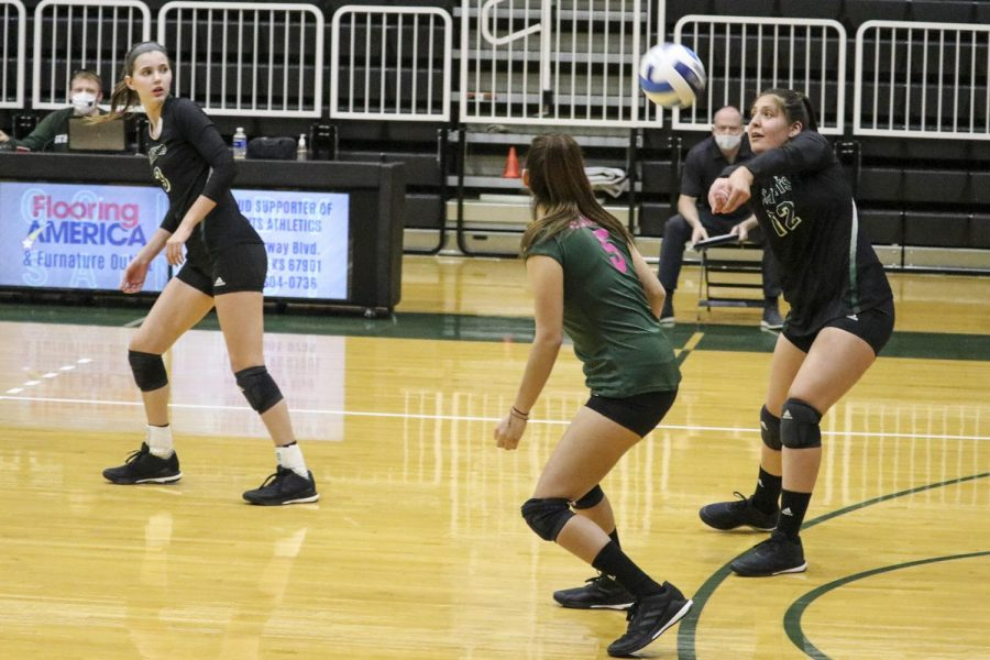 The Lady Saints set up their offense. The women took their first two losses of the season against nationally ranked opponents over the weekend during the Northeastern Junior College tournament. (File Photo)