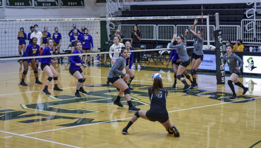 Sophomore Grecia Soriano, saved the ball as Dodge City tried to make a kill. The Lady Saints won all 3 matches against the Lady Conquistadors.