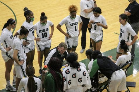 The Lady Saints huddle together and make plans for the next play. Cowley College dominated the first quarter but after this timeout, the Lady Saints started making a slow come back. In the fourth-quarter, Seward blew past Cowley and never looked back. The Lady Saints won 93-81.
