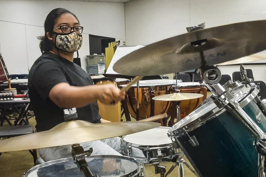 Maggie Ibarra is in the school band. She enjoys playing the drums ever since she was little.