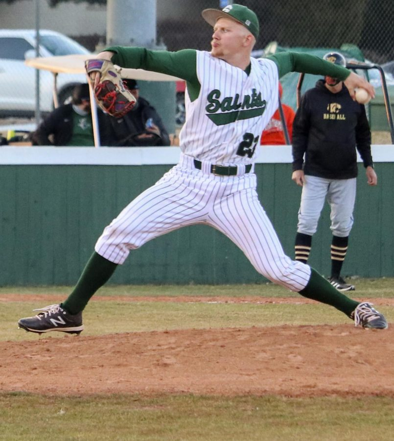 Colt Batling is a freshman from Marietta,Oklahoma. Batling was the starting picher for the first game in which the Saints won.
