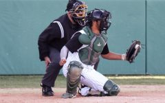 John Cantu pulls up at second for a double against Colby Community College, March 27. The Saints played four games against their conference foes over the weekend. Seward came away with three wins and one loss. Cantu is from Amarillo, Texas.