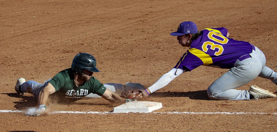 Crusader photographer, Brooklynn Bauer won second place in sports action photography with a shot of a baseball game in the fall.