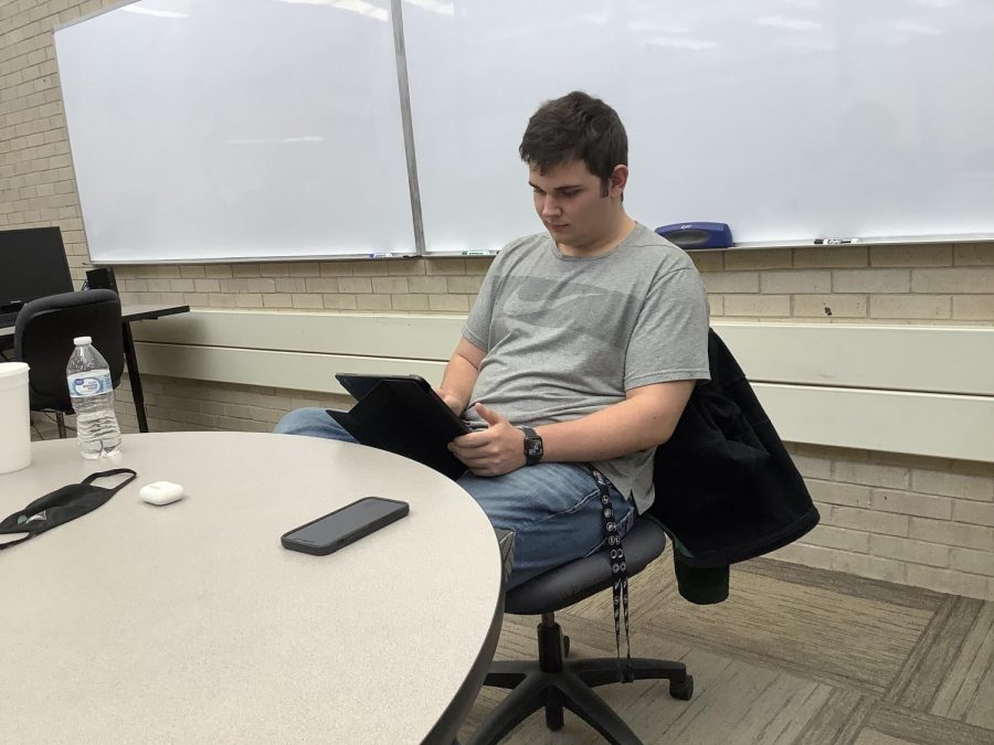 Iann Hayes, a native from Liberal, spends his time as a math tutor at the Math Center. Hayes claims that its easy money since not a lot of students come in for tutoring and he enjoys math.