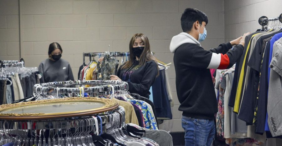 Hundreds of clothing items hang in the reopened E-boutique on the SCCC technical college campus. The shop was started in 2015 and sponsored by Phi Beta Lambda. Club members decided to revamp the shop so students and community members could take advantage of the donated clothes. The goal is to help empower students to make an impact on the job market.