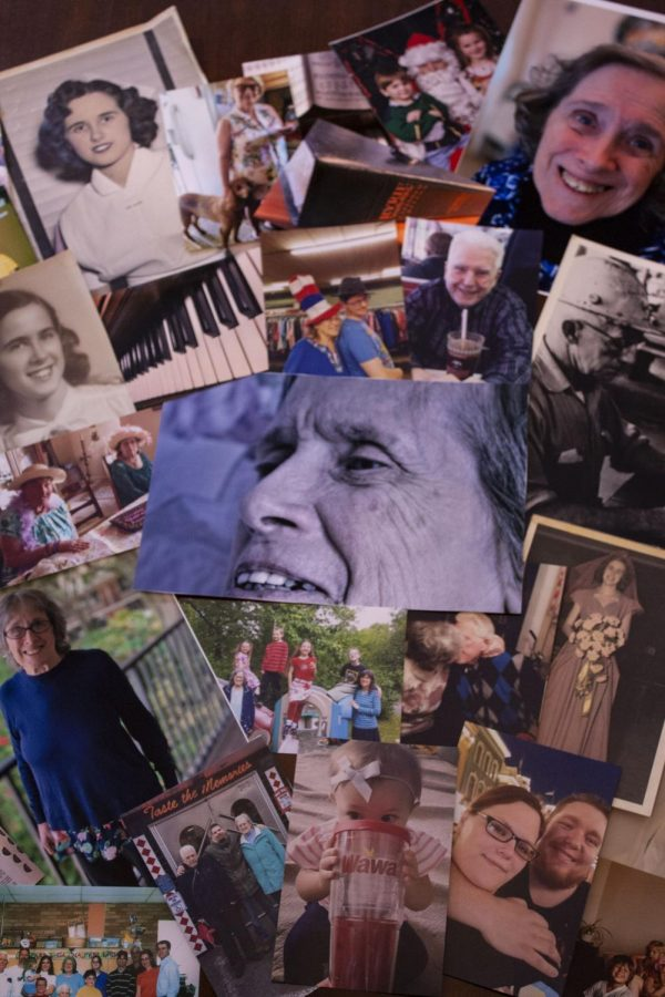 """A collage of family pictures provides a glimpse of Anne McKeown's history. Jean Fields, McKeown's daughter and caregiver, said, """"Life is more than what you see. And my mom is much more than her dementia""""."""