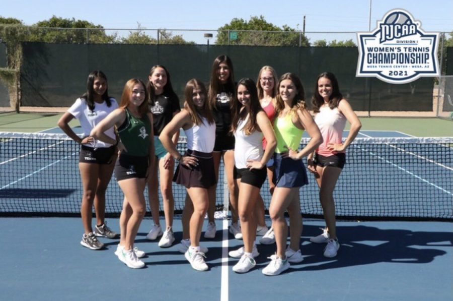 The+Lady+Saints+tennis+team+placed+fifth+at+the+National+NJCAA+tournament+in+Mesa%2C+Arizona.
