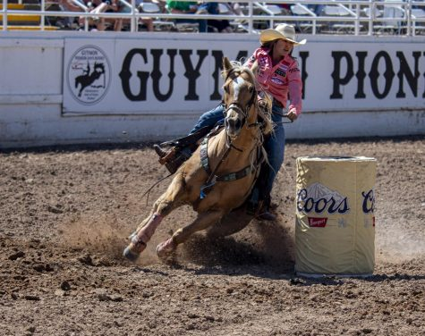 The reigning three-time world champion Hailey Kinsel rounds barrel number three to run a 17.26 second run. Kinsel placed first in the round averages of the Guymon Pioneer Days