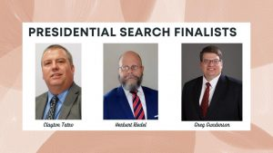 Three finalists for the Seward County Community College president's job will visit campus in the next few weeks.