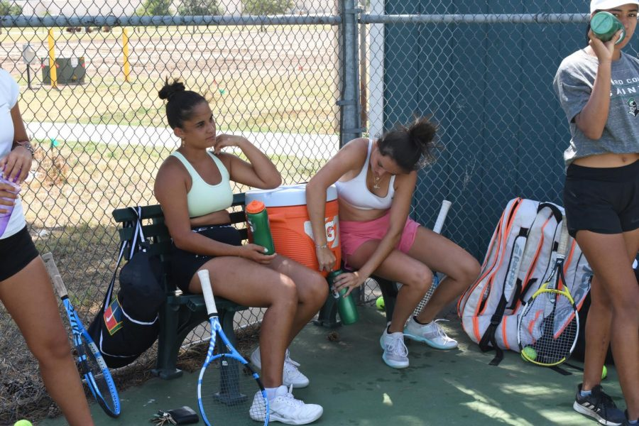 Staying hydrated is a priority for most teams that practice outside. The women's tennis team takes more water breaks than normal during the triple digit days. This helps to avoid heat exhaustion and cramping.